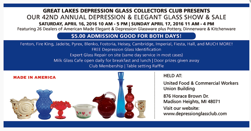 4月16日:Depression and Elegant Glass Show and Sale