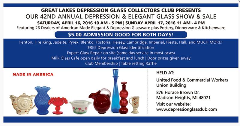 4月16日:Depression and Elegant Glass Show and Sale