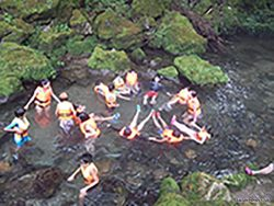 源流に近い透き通った川で遊ぶ
